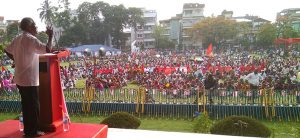 Naxalbari veteran comrade Khemu Singh addressing the rally, 25 May 2017