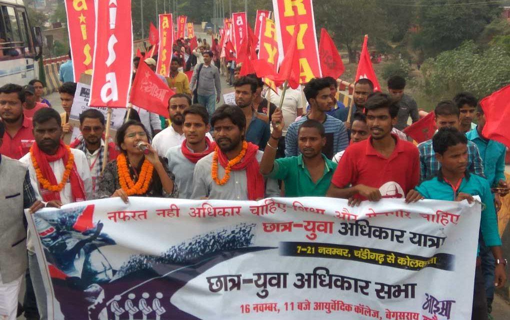 Enthusiastic Response for AISA-RYA's  Student-Youth Adhikar Yatra