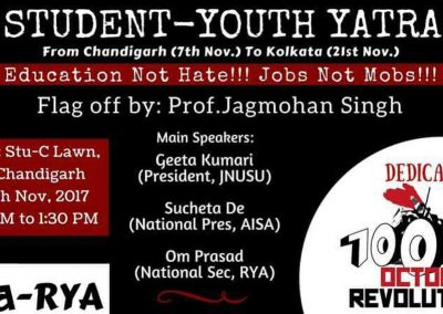 Students-Youth Adhikar Yatra Poster in Chandigarh