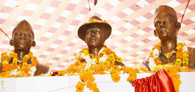 Statue of Bhagat Singh, Sukhdev, and Rajguru Inaugurated at Mansa
