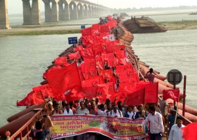Sea of Red: Marchers Crossing Ganga Bridge to enter Patna