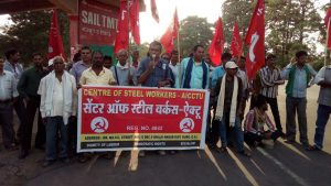 Centre of Steel Workers Protests Accidents in Bhilai Steel Plant